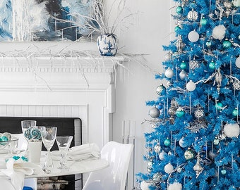 Perfect Holiday Blue Artificial Christmas Tree 6 ft Unlit