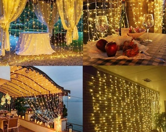 300 LED 9ftx9ft USB Powered Curtain String Fairy Lights 8 Lighting Modes Remote