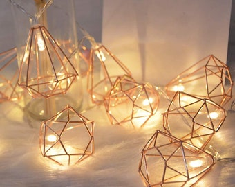 10 LED 5ft Diamond String Fairy Lights Battery Operated Rose Gold