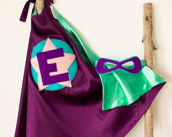 Super Hero Set, personalized. Cape & Crown or Mask. Purple and Mint. Custom Cape. Imaginative play. Dress-up. Role Playing.