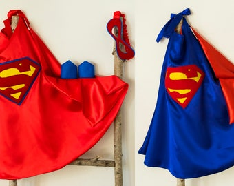 Super Hero Set. Cape & Crown or Mask. Royal Blue and Red. Superman / Supergirl set. Imaginative play. Dress-up. Role Playing.