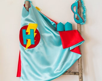 Super Hero Set, personalized. Cape & Crown or Mask. Aqua and Red. Custom Cape. Imaginative play. Dress-up. Role Playing.