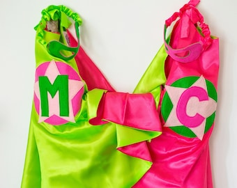 Super Hero Set, personalized. Cape & Crown or Mask. Bright Pink and Lime Green. Custom Cape. Imaginative play. Dress-up. Role Playing.