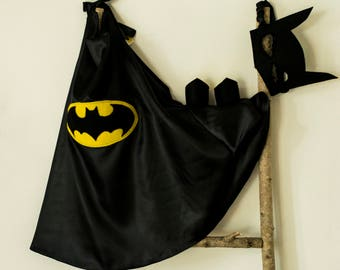 Super Hero Set, personalized. Cape & Crown or Mask. Black. Batman costume. Batman set.Custom Cape. Imaginative play. Dress-up. Role Playing.