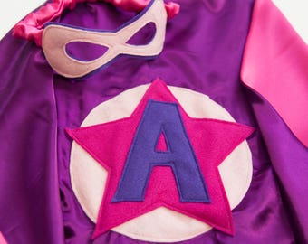 Super Hero Set, personalized. Cape & Crown or Mask. Bright Pink and Purple. Custom Cape. Imaginative play. Dress-up. Role Playing.