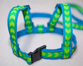 Child Harness. Baby & Toddler harness, walking lead. Cotton webbing leash. Turquoise webbing and Green Ribbon.