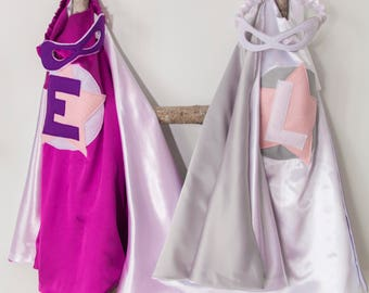 Super Hero Set, personalized. Cape & Crown or Mask. Purple and White. Custom Cape. Imaginative play. Dress-up. Role Playing.