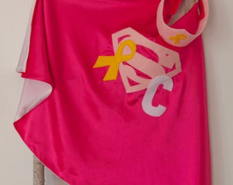 Super Hero Set, personalized. Cape & Crown or Mask. Bright Pink and White. Cancer Hero. Supergirl. Cancer Survivor. Dress-up. Role Playing.