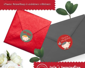X'mas greeting labels and matched address labels