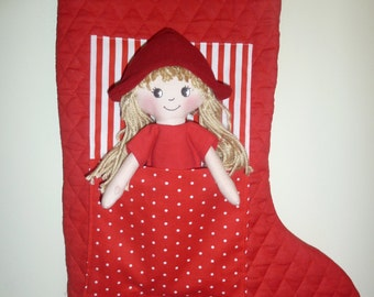 Christmas Stocking with Doll in pocket