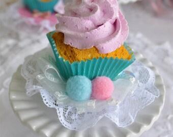 Bean Sprinkle Arts Vanilla Strawberry PomPom Cupcake Mini Hat