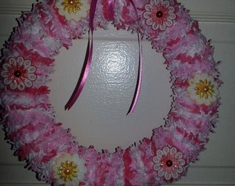 Pink, White, Red Floral Yarn Wreath