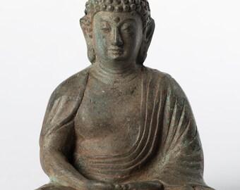 """Buddha Statue - Antique Japanese Style Bronze Seated Amida Amitabha Meditation Buddha Statue - 11cm/4"""""""