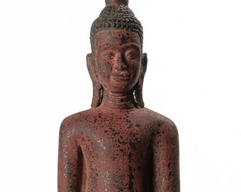 """Antique Khmer Style Wood Standing Thoughtful Friday Buddha Statue - 65cm/26"""""""