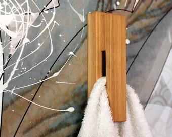 Cherry wood wall hook wood towel hooks for wall bathroom hook home decor wood wall hook bathroom towel holder wood towel rack