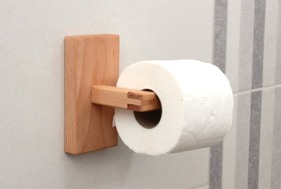 Toilet Accessoires Set : Beech toilet paper holder toilet roll holder bathroom decor etsy