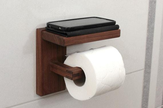 Wc Rollen Houder Hout.Houten Toiletpapier Houder Met Plank Walnut Wc Rol Houder Minimale Badkamer Decor