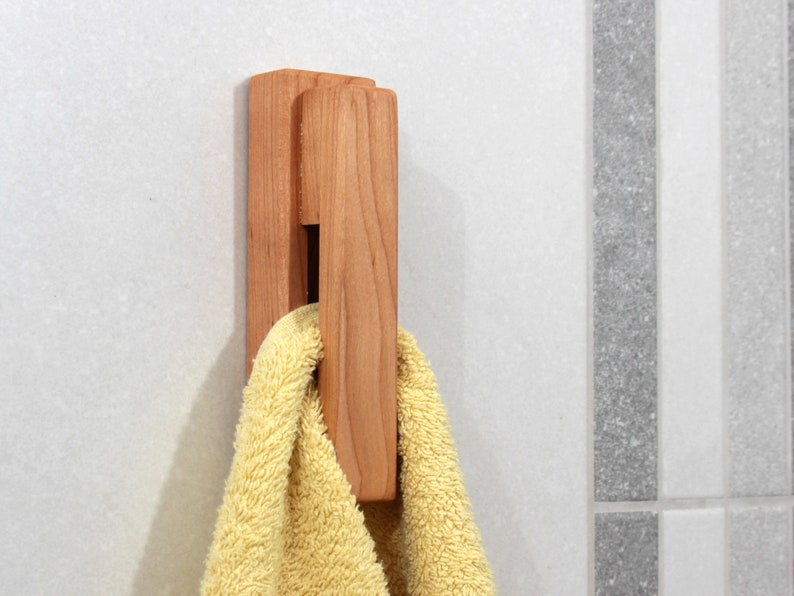 Wood Wall Hook Cherry Wood Towel Holder Bathroom Hooks For Etsy