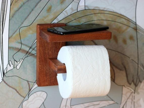 Toilettenpapierhalter Mit Regal Minimalistische Badezimmer Holz Wc Rollen Halter Mahagoni