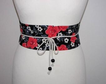 Black Japanese fabric obi ecru gray coral flower sash
