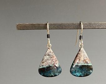 Petrified Wood Earrings - Petrified Wood Jewelry - Blue and Gray Earrings - Gift For Her - OOAK Jewelry - Black Beach