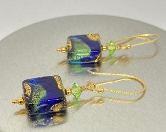 Murano Glass Earrings - Venetian Glass Jewelry - Swarovski Earrings - Blue and Green Jewelry - Carnivale