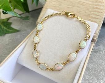 Opal Bracelet - Gemstone Bracelet - Opal Jewelry - Romantic Jewelry -  Jewelry Gift - October Birthstone -  minimalist - Opal Dreamer