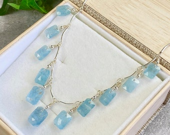 Aquamarine Necklace - Aquamarine Jewelry - March Birthstone - Bridal Jewelry - March Birthday Gift - Baby Blue Jewelry - Ice Water
