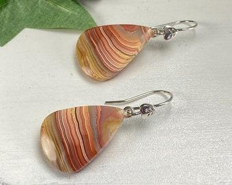Agate Gemstone Earrings - Agate Jewelry - Autumn Jewelry - Fall Color Earrings - Band Agate