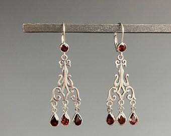 Garnet Earrings - Garnet Jewelry - January Birthstone Jewelry - January Gift - Garnet Chandelier