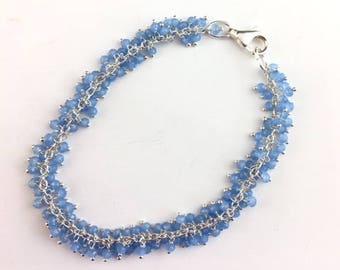 Chalcedony Bracelet - Blue Bracelet - Fringe Bracelet - Blue Jewelry - Gift for Her - Chalcedony jewelry - Cornflower Bracelet