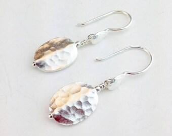 Hill Tribe Silver Earings - Sterling Earrings - Hammered Silver Earrings - Hill Tribe Silver Jewelry - Hammered Jewelry - Hill Tribe Drops