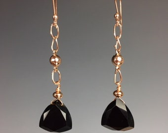 Black Spinel Earrings - Black Spinel Jewelry - Rose Gold Earrings - Long Earrings - Trillion Cut Spinel - Black and Rose Gold -Spinel Drop