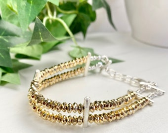 Mixed Metal Bracelet - Mixed Metal Jewelry - Gold Hematite Bracelet - Hill Tribe Silver Jewelry - Bridge