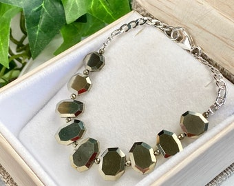 Pyrite Bracelet - Pyrite Jewelry - Teen Gift - Chique Jewelry - Gift For Her - Mirrors