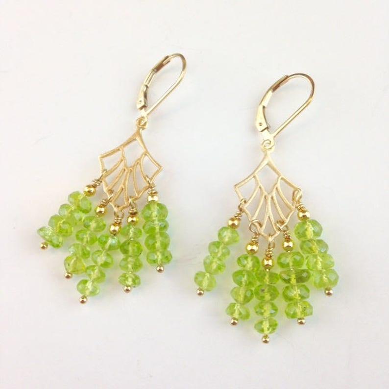 Peridot Feathers August Birthstone Jewelry Gold Gemstone Jewelry Peridot Jewelry Green Chandelier Earrings Peridot Earrings