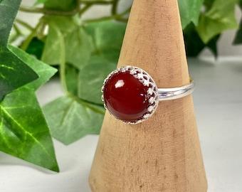 Carnelian Ring - Gemstone Ring - Carnelian Jewelry - Autumn Jewelry - Fall Fashion - Solitaire Ring - Carnelian Round