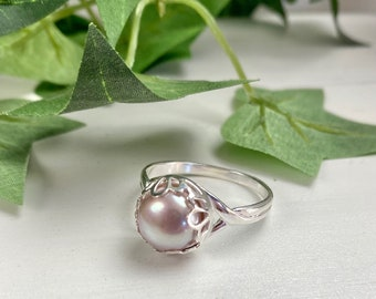 Pink Pearl Ring - Pearl Jewelry - Solitaire Pearl - Gift For Her - Pink Pearl