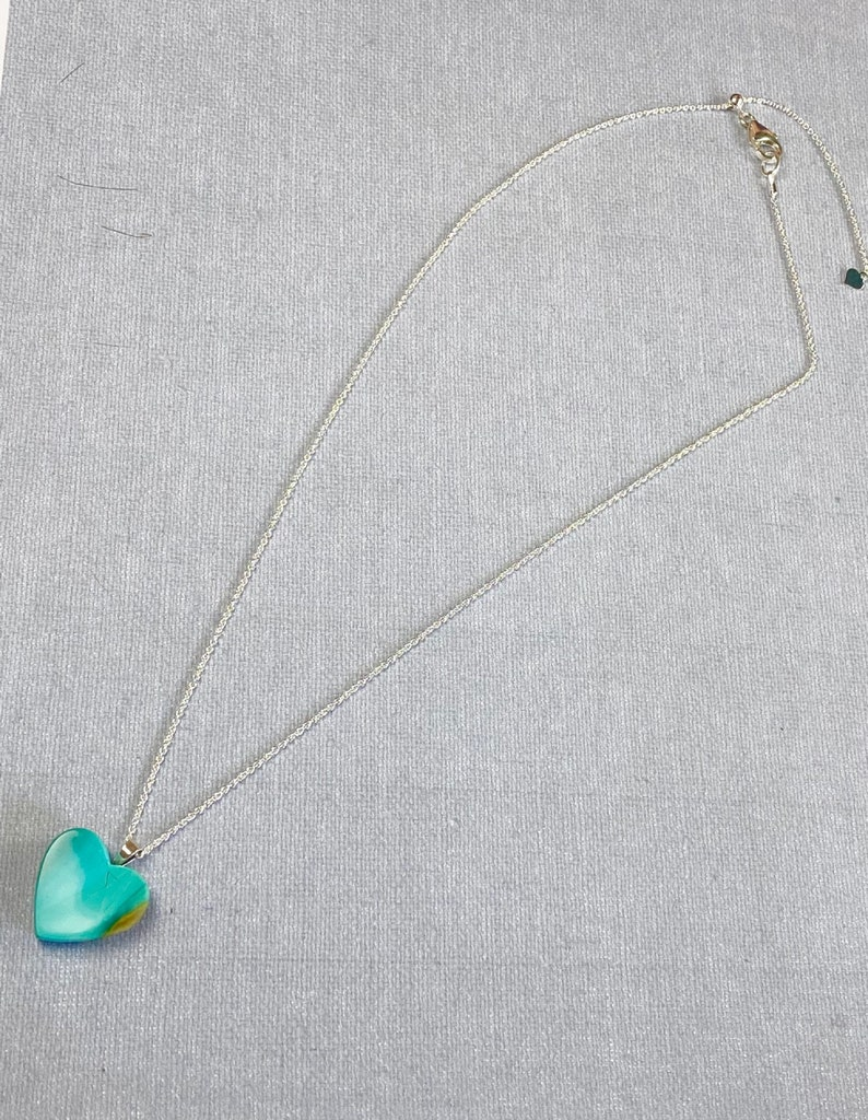 Blue Opal Heart Pendant Necklace Blue Opal Jewelry Valentines Day Jewelry Blue Opal Heart Indonesian Blue Opal