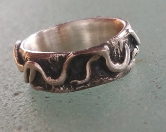 Rustic Sterling Silver Ring, Size 8 Rustic Wedding Band 8mm, Vines Overlaid on Bark Texture, Unisex Wedding Ring, Mens Band