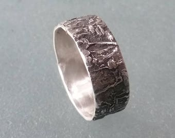 Silver Bark Ring, Sterling Silver Tree Bark Rustic Wedding Band, , Textured Silver Wedding Band 7mm Wide, Twig Wedding Ring, Nature Jewelry