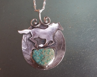 Turquoise Horse Pendant, Sterling Silver Equine Necklace with Galloping Mustang and Semi-Circle Turquoise