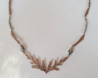 Rose Gold & Silver Woodland Fantasy Statement Necklace, Winged Chain, Solid 14k Rose Gold and Sterling Silver Nature Jewelry