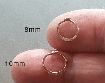 Tiny 8mm 14k Gold Hoops, Small Solid Gold Hoops, 14k Rose Gold, 14k White Gold or Yellow Gold Earrings, Cartilage Hoops Minimalist Earings