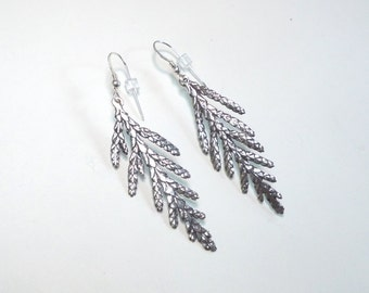 Woodland Jewelry, Sterling Silver Cedar Earrings, Outdoor Gift, Twig Jewelry, Botanical Silver Nature Jewelry, Branch Earings