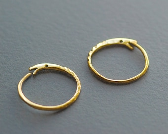 18k Gold Ouroboros Earrings, Solid Gold Snake Hoops, Real Gold Ouroboros Hoops, Snake Eats its Tail, 18k Gold Hoops