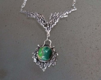 Winged Cedar Chrysocolla Necklace, Sterling Silver Statement Necklace, Green Stone Nature Jewelry