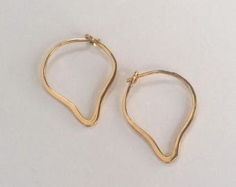Solid Gold Lotus Hoops, 14k Gold Hoop Earrings, Leaf Shape Thick Gold Hoops, Handmade 14k Heart Teardrop Hoops, Solid 14k Recycled Gold