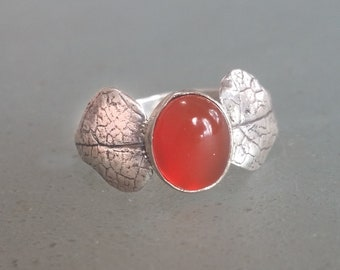 Carnelian Ring Sterling Silver Size 8.25, One of a Kind with Leaf Embellishment, Nature Jewelry, Orange Stone Ring