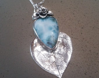 Larimar Pendant with Leaf & Succulent Flower, Sterling Silver OOAK  Nature Inspired Statement Necklace with Light Blue Teardrop Shape Stone